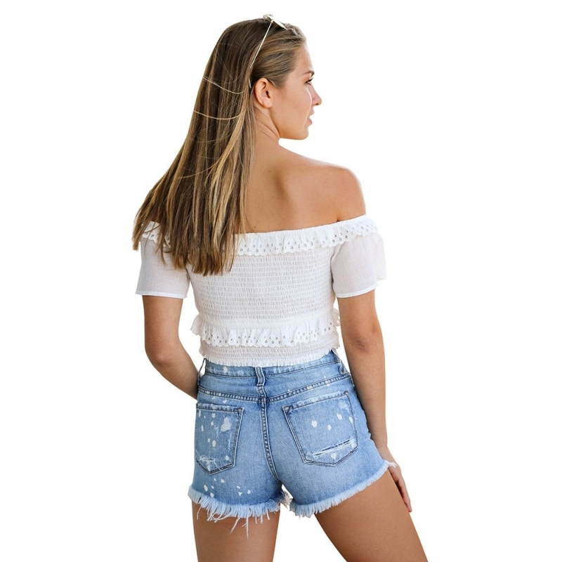 YP-6083 Lady ripped denim shorts wholesale Size S-2XL