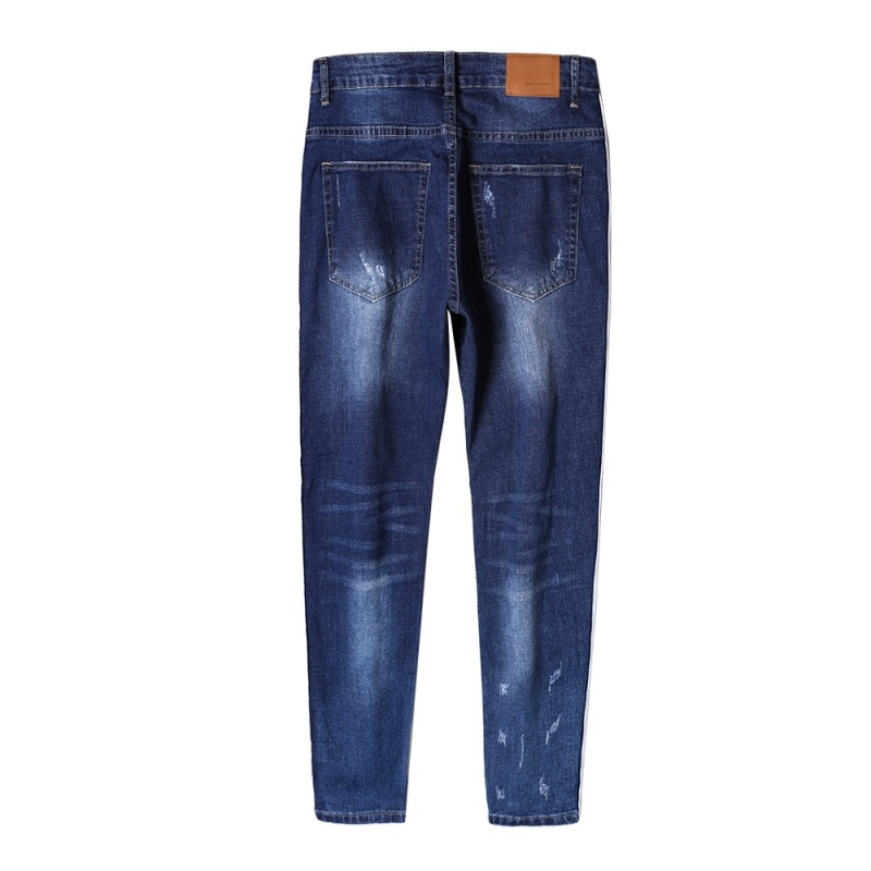 DX-02 Men fashion ripped knee jeans with stripe at side size 29-38