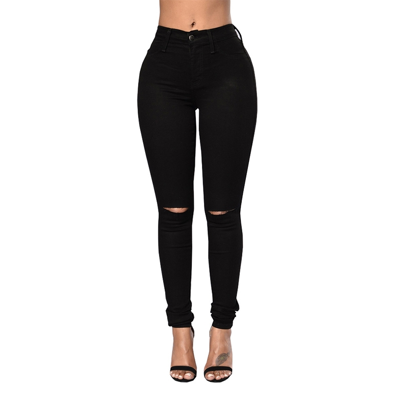 YP-168 Wholesale fashion ripped black skinny fit denim jeans for women size S-XXL