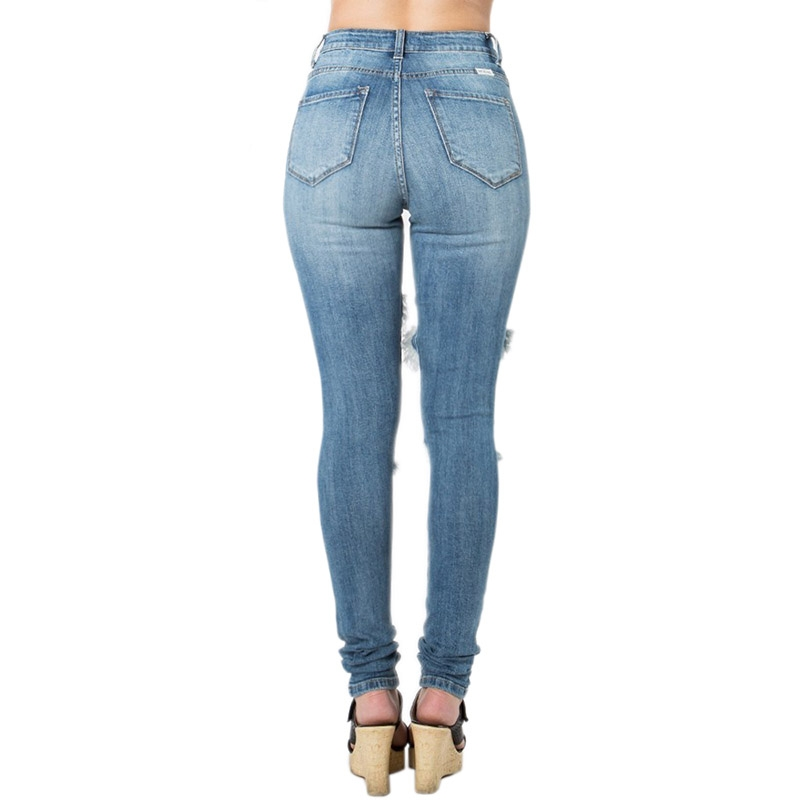 YP-235 Wholesale Ladies Ripped Hole Skinny Jeans Light Blue Color Size S-XXL