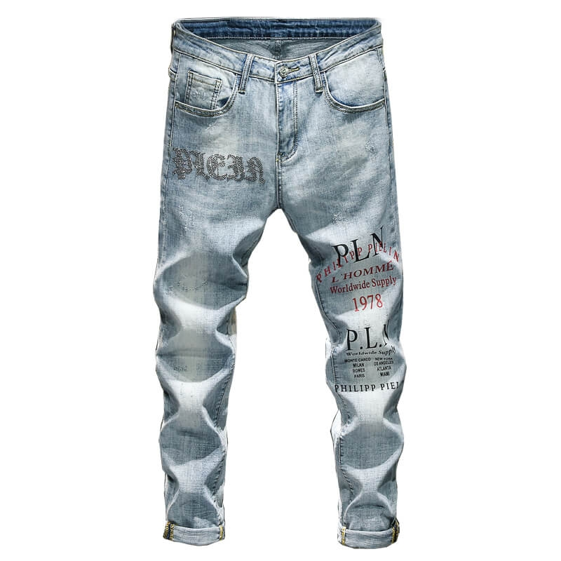 DQ-1121 Wholesale Fashionable Ice Blue Skinny Fit Men Jeans With Heat Print Size 29-38