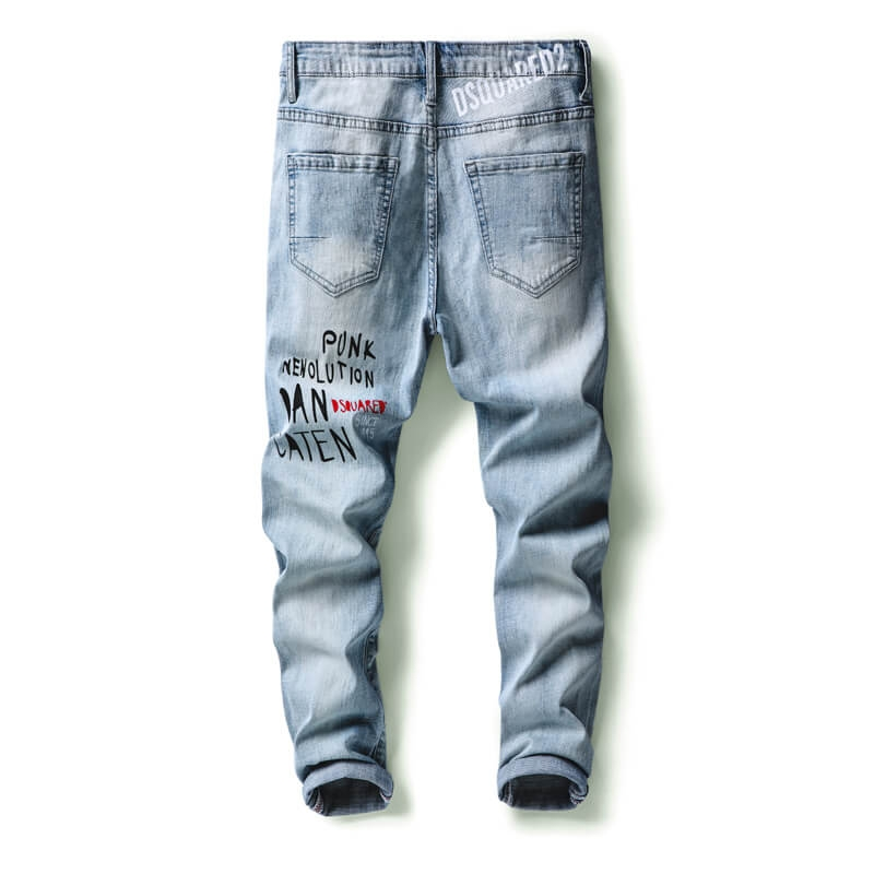 DQ-1116 Fashion Ripped Printed Light Blue Skinny Fit Denim Jeans For Men Size 29-38