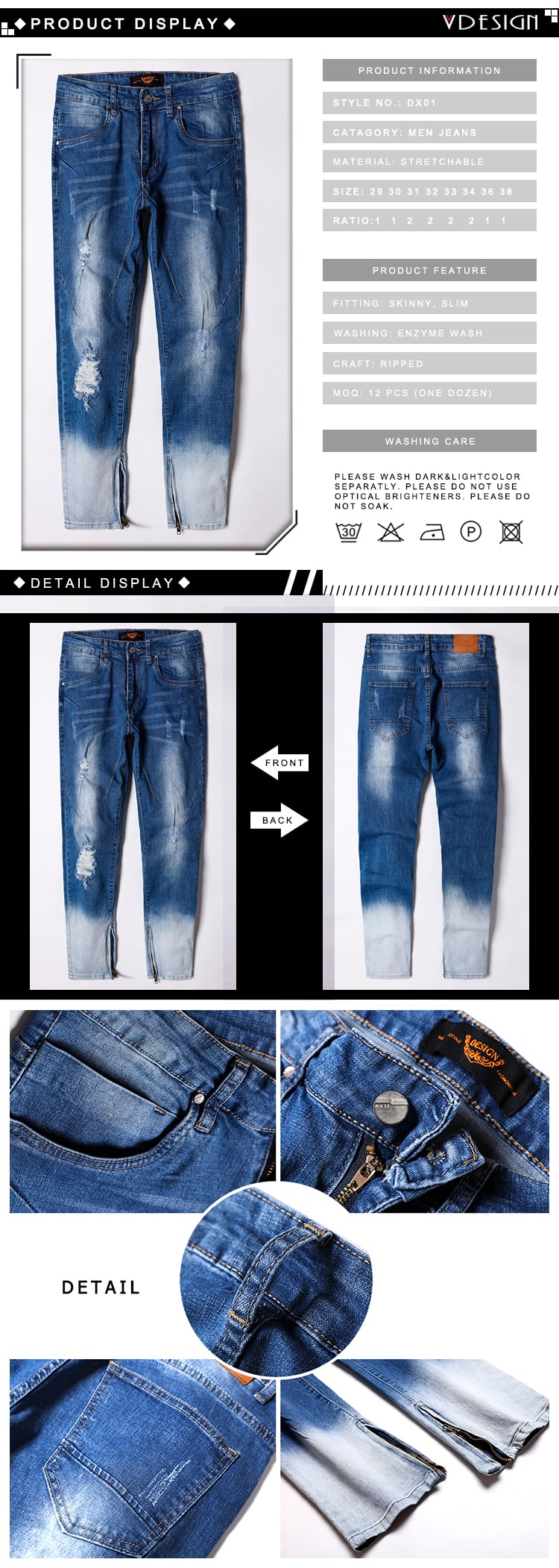 Men fashion comfort fit ripped zipper jeans