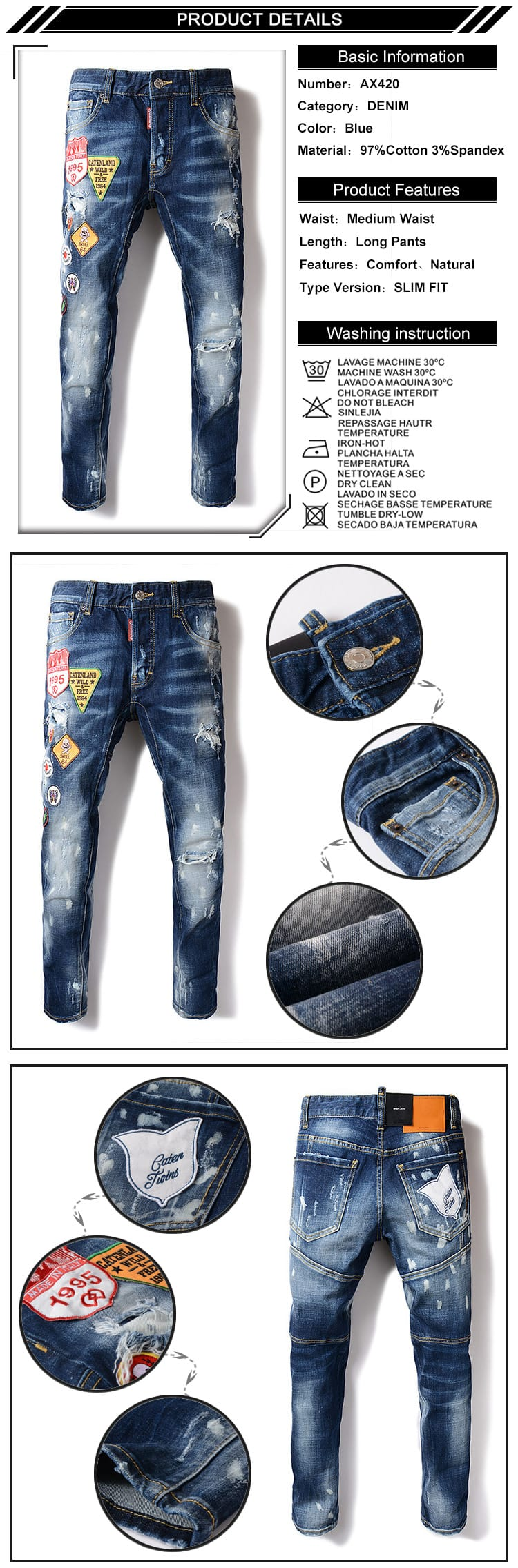 Good Quality Medium Blue Ripped Slim Fit Jeans For Men With Patches