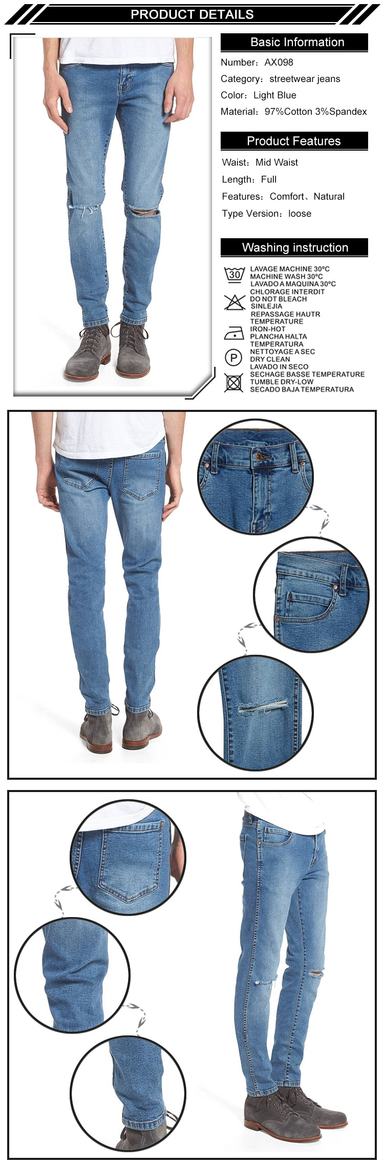 Fashionable Medium Blue Ripped Denim Jeans For Men