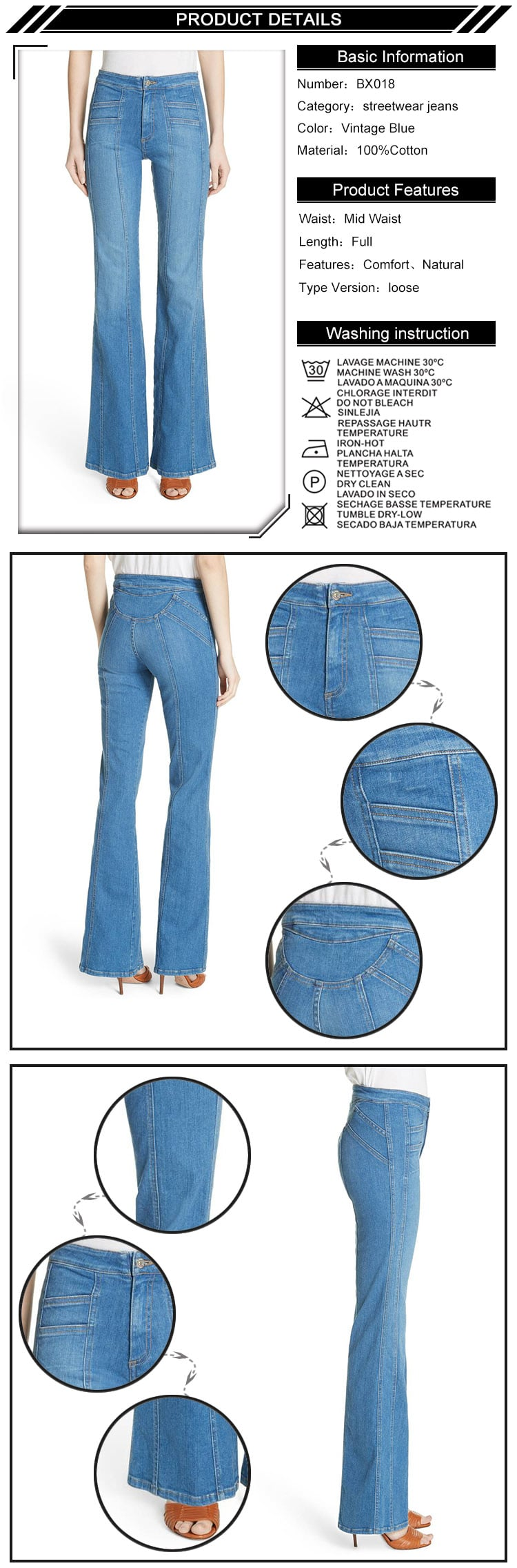 New Fashion Flare Cut Medium Blue Women Denim Jeans