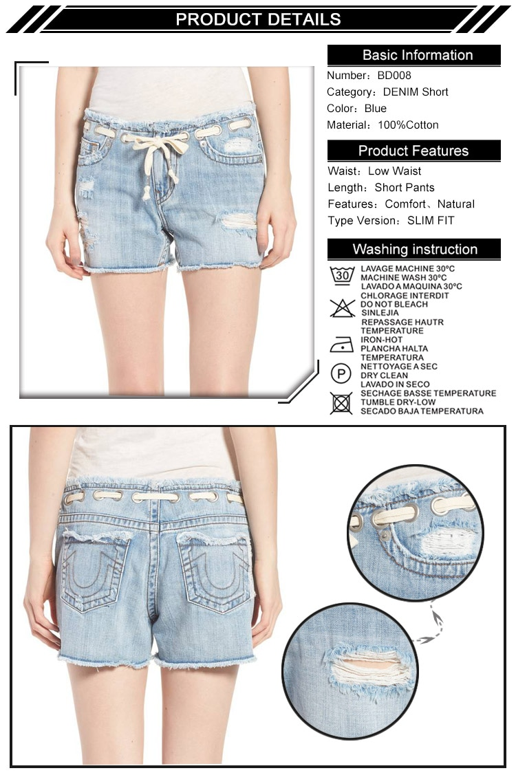 Fashionable Ripped Light Blue Women Denim Shorts With Rivets At Waist Band