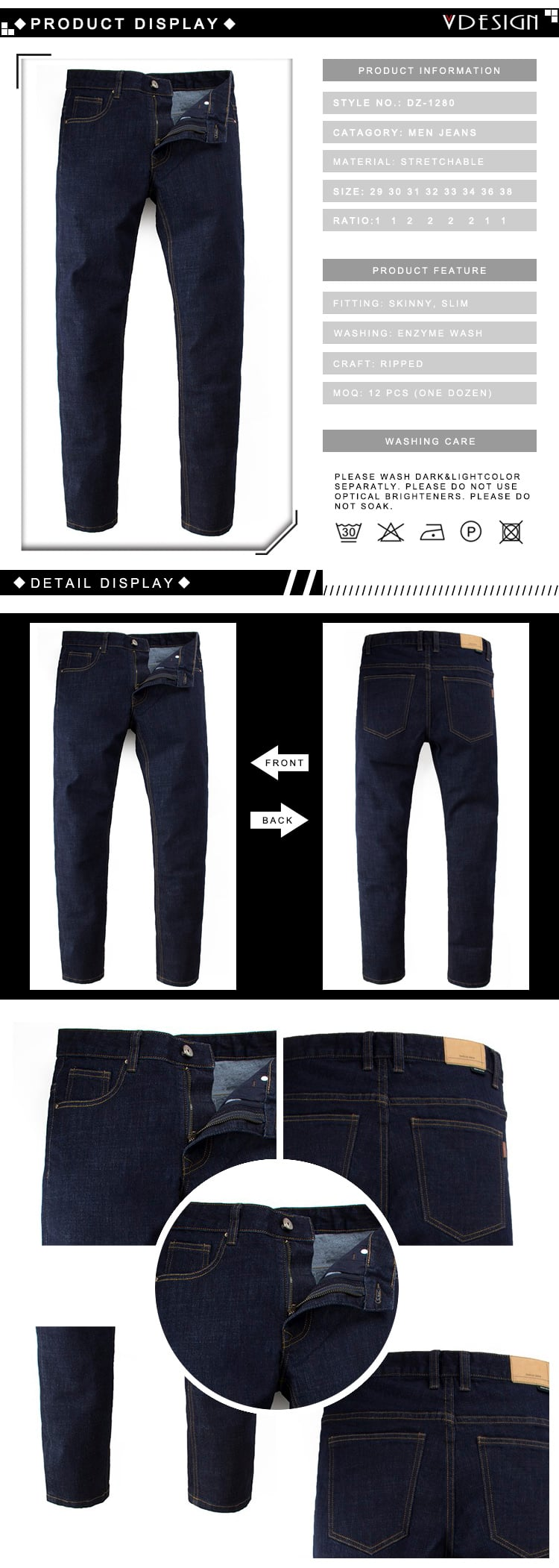 High Quality Basic Dark Blue Slim Fit Denim Jeans For Men