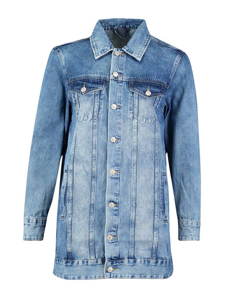 women oversized acid washed long denim jacket