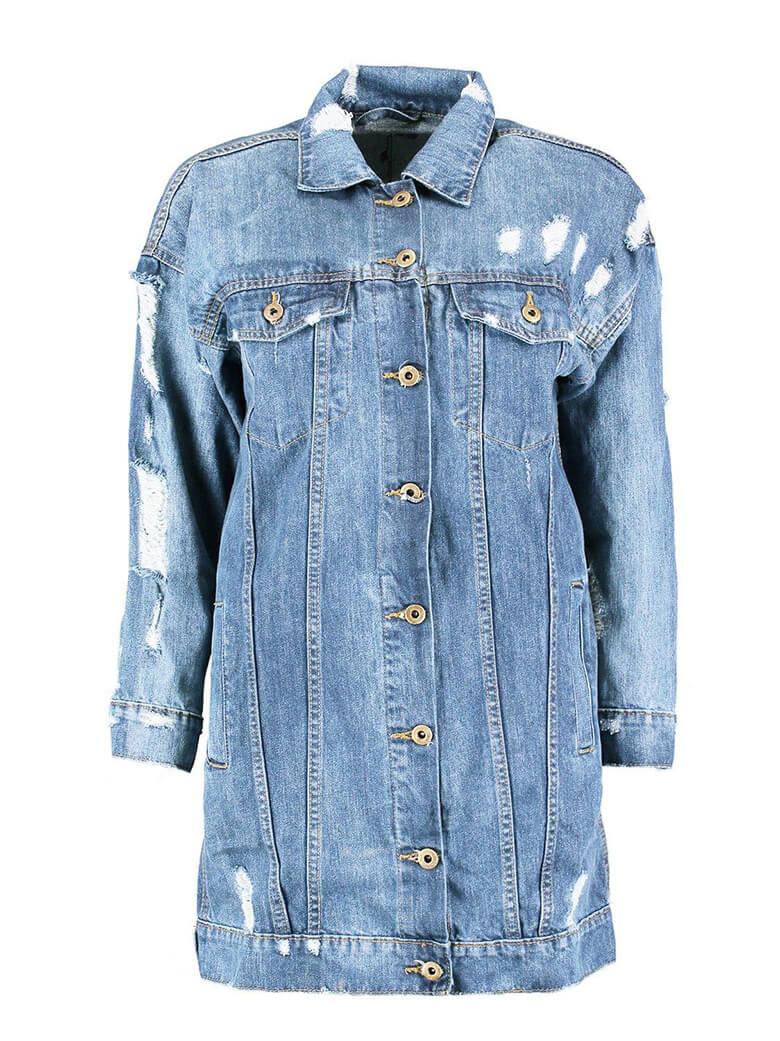 none stretch women long style fashion denim jacket