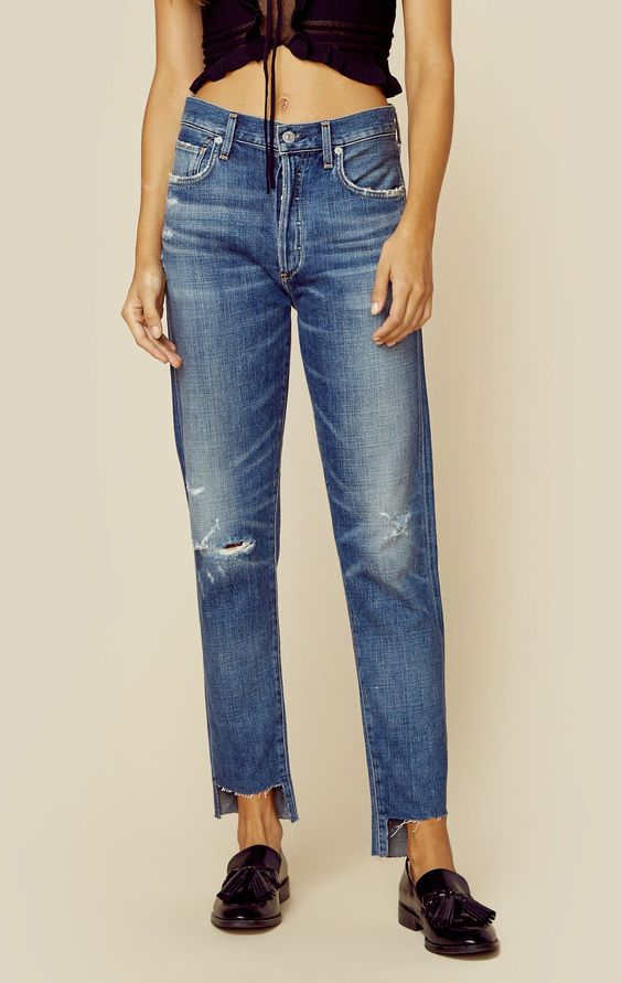 high-low hemline jeans