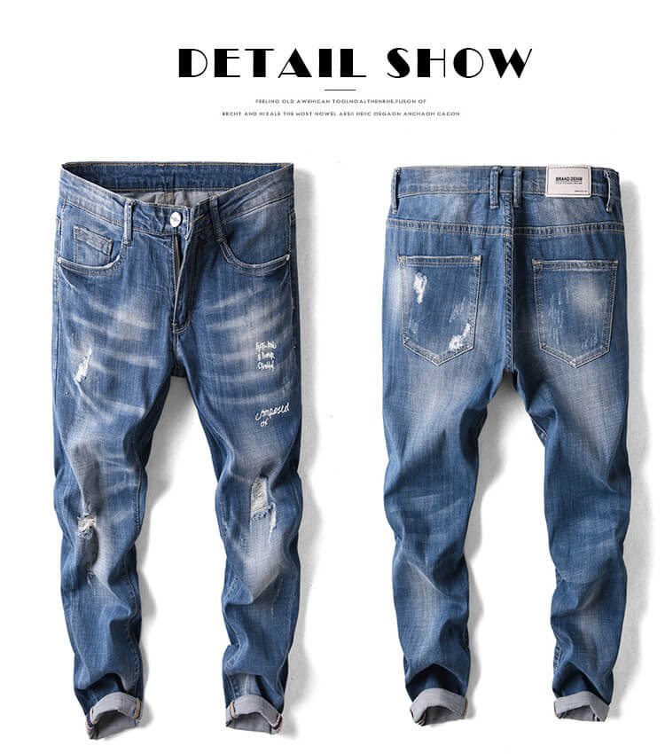 ripped men jeans with print