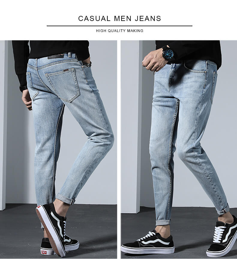 light blue tapered men jeans