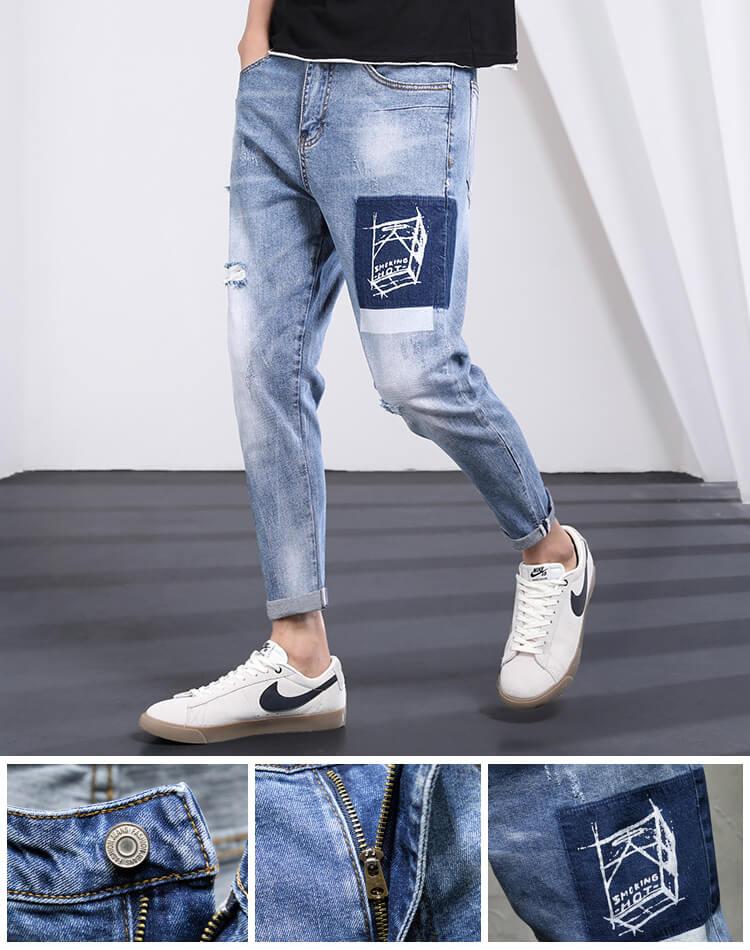 printed men jeans slim fit