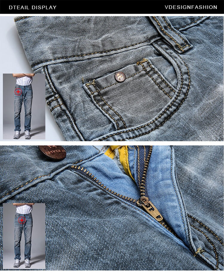 dirty  washed jeans pants for men