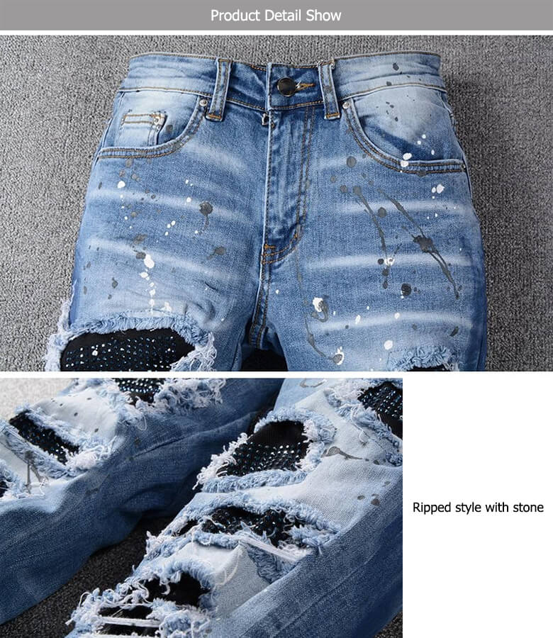 ripped men jeans with diamond stones