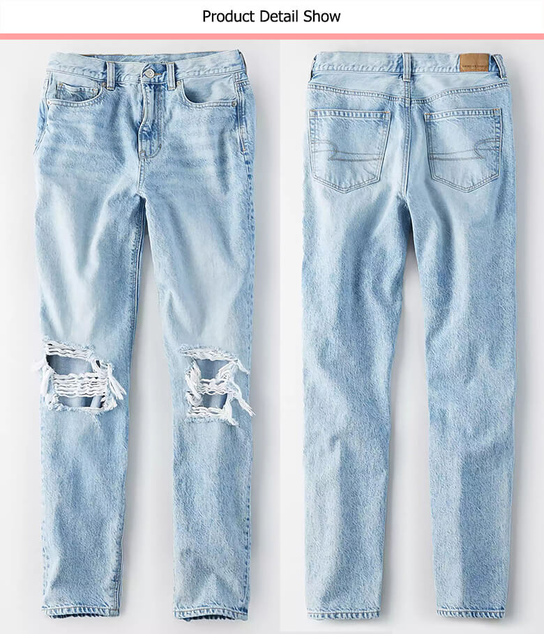 ripped distressed women mom fit jeans