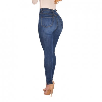 YP-178 Basic style lady high waisted skinny fit button fly denim jeans size S-2XL