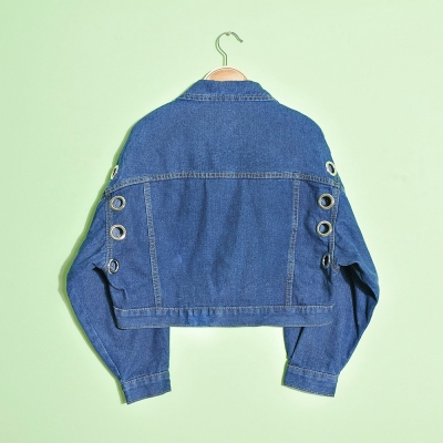 Lady's good quality fashion denim jacket with rivets
