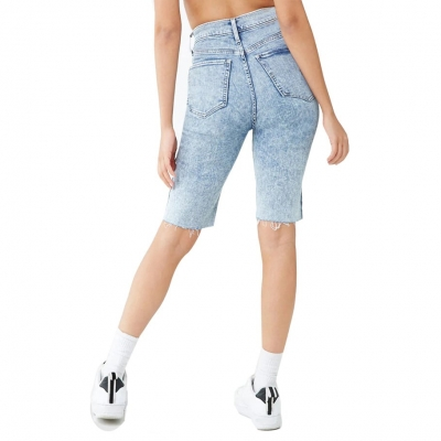 YP-6095 Lady's ACID washed denim short light blue color size: S-2XL