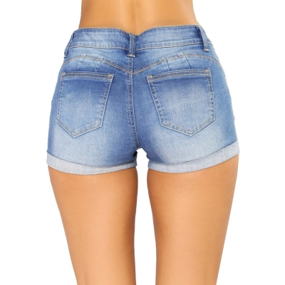 YP-6010 Lady denim short light blue and dark blue S-2XL