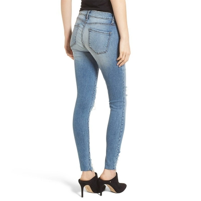 BX-044 Good Quality Mid-Waist Skinny Fit Ripped Denim Jeans For Women