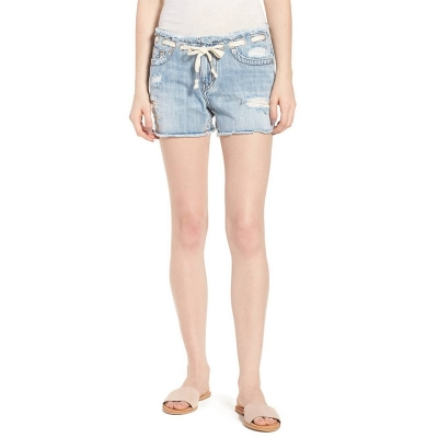 BX-021 Fashionable Ripped Light Blue Women Denim Shorts With Rivets At Waist Band