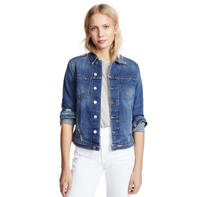 JC668 Low MOQ Custom women jeans jacket medium blue slim fit cotton stretch denim jacket with patch pockets