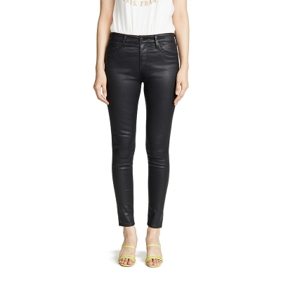 JC-892 Well-made Women Casual Black Skinny Fit Soft Material Coated Jeans Pants