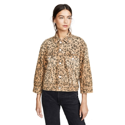 JC893 Custom Fashionable Slim Fit Women Leopard Printed Jeans Jacket