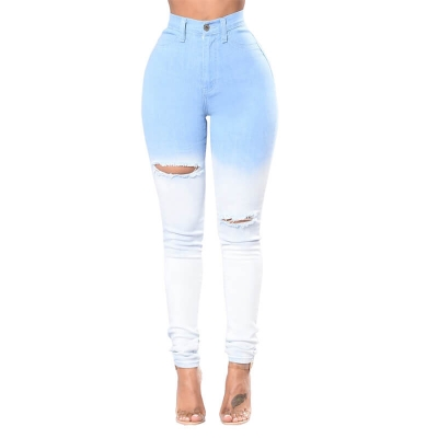 YP-229 Hot-selling New Style Women Bleach Washed Skinny Ripped Denim Jeans S-2XL