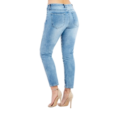 JW-884 Fashion Ripped None Stretch Cotton Denim Pants Sequin Embroidered Boy Friend Jeans For Women