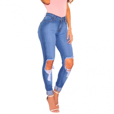 YP-139 Fashionable High-waist Skinny Fit Light Blue Ripped Denim Jeans For Women Size: S-XXL