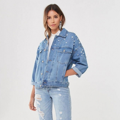 JK944 Good Quality Fair Price Fashion Style Ice Blue Oversized Women Denim Jacket With Pearl