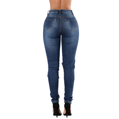 YP-147 Fashionable ripped high waist skinny fit denim jeans for women size S-2XL