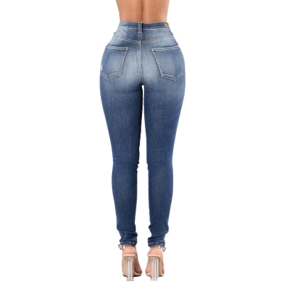 YP-152 Wholesale fashion ripped vintage blue skinny jeans for women size S-3XL