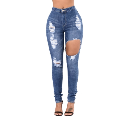YP-148 High quality medium blue skinny fit butt lift ripped jeans for women size S-2XL
