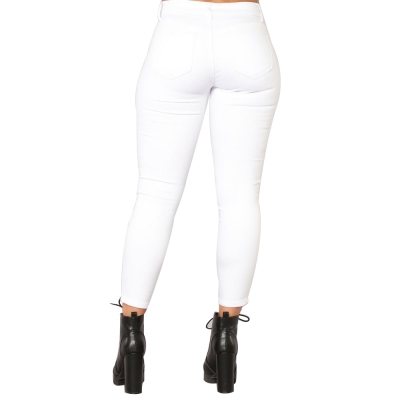 YP-W006 Wholesale Stretch Butt Lift White Skinny Cropped Women Jeans Pants With Rivets size S-XXL