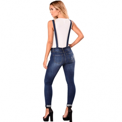 YP-6055 Fashion Ripped Skinny Fit Side Zipper Women Denim Overalls Dark And Light Blue Available size S-XXL