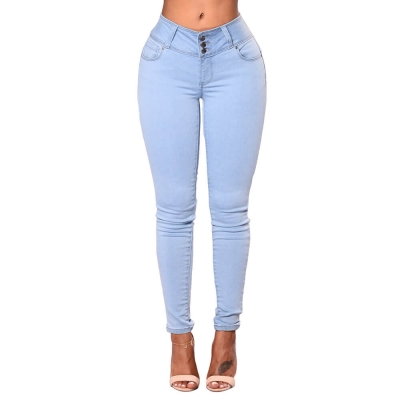 YP-6033 Wholesale Colombian Style Butt Lift Skinny Fit Ladies Jeans Pants size S-XXL
