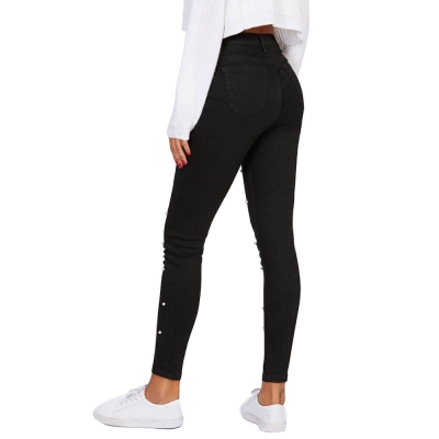 YP-6040 Fashion Basic Black Skinny Women Ankle Length Jeans Pant With Pearls size S-2XL
