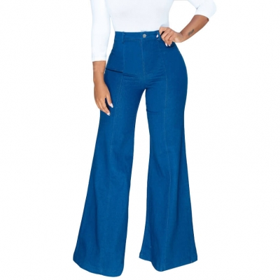 YP-6059 Wholesale Women Bell Bottom Stretch Jeans Blue Flare Jeans Pants For Ladies size S-2XL