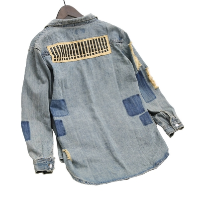 VD-201 Good Quality Vintage Blue Ripped Oversized Denim Jacket For Women size free