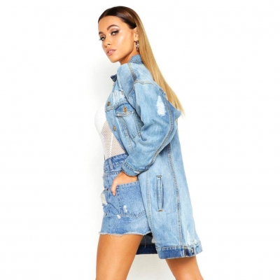 VD-502 Fashionable None Stretch Light Blue Oversized Long Denim Jacket For Women