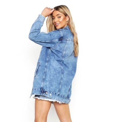 VD-501 High Quality ACID Blue Washed Oversized Long Denim Jacket For Women