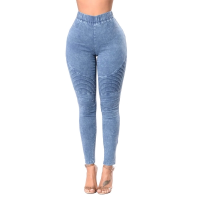 YP-249 Fashionable High Waisted Women Skinny Fit Elastic Waist Band Denim Pants S-2XL