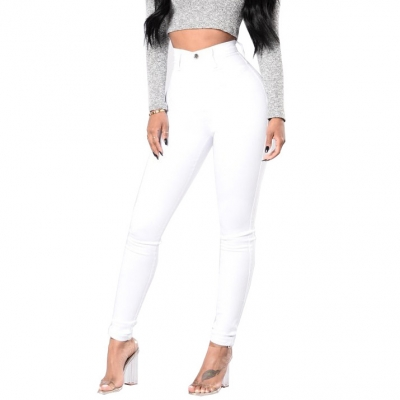 YP-228 Fashion Basic Design Skinny Fit Women White And Black Cotton Denim Pants S-2XL