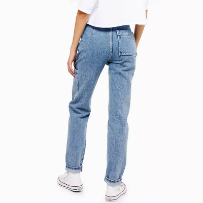 BV-04 Custom New Fashion Light Blue Patched Pocket Mom Fit Jeans Pants Women