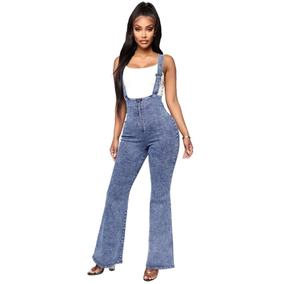 YP-9012 In Stock Women Flare Cut Front Zipper Design ACID Wash Denim Overalls S-XXL