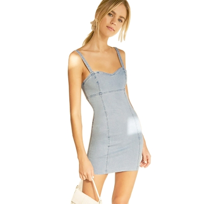 BV-007 Latest Design Summer Wear Off Shoulder Women Mini Denim Dress